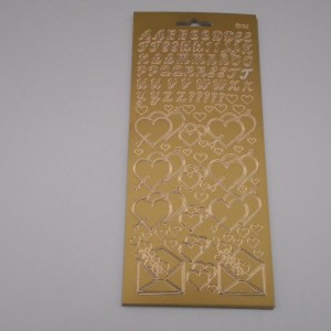 Alphabet and Heart Gold Peel Offs