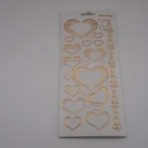 Hearts White and Gold Peel Offs