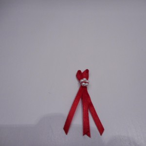 Red And Pearl Ribbon Bow