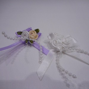 White And Lilac Rose Bud And Pearl Bows Collection