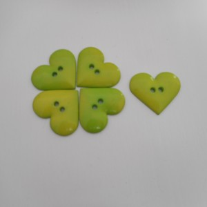 green Heart Buttons